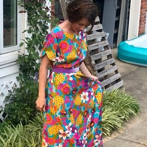 🍾HP🍾True Vintage} AMAZING turquoise flower maxi